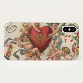ヴィンテージのビクトリアンなバレンタイン、天使の天使のハート iPhone X ケース