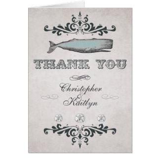 ヴィンテージのビクトリアンなビーチのクジラの結婚式は感謝していしています カード