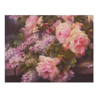 ヴィンテージのビクトリアンなピンクのバラおよびライラックの郵便はがき ポストカード