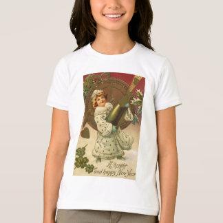ヴィンテージのビクトリアンな大晦日女の子およびシャンペン Tシャツ