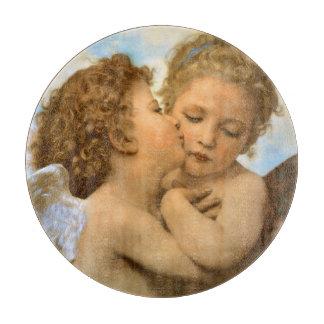 ヴィンテージのビクトリアンな天使、Bouguereau著最初キス カッティングボード