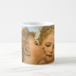 ヴィンテージのビクトリアンな天使、Bouguereau著最初キス コーヒーマグカップ