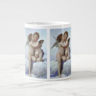 ヴィンテージのビクトリアンな天使、Bouguereau著最初キス ジャンボコーヒーマグカップ