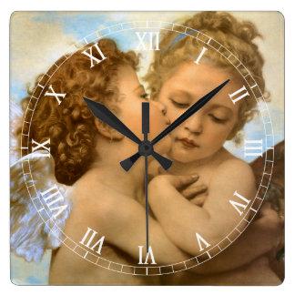 ヴィンテージのビクトリアンな天使、Bouguereau著最初キス スクエア壁時計