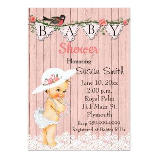 ヴィンテージのビクトリアンな女の赤ちゃんのベビーシャワーの招待状 12.7 X 17.8 インビテーションカード