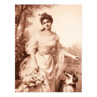 ヴィンテージのビクトリアンな女性wのボーダーコリー犬のレトロ ポストカード