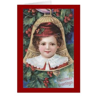 ヴィンテージのビクトリアンな子供のクリスマスの挨拶状 カード