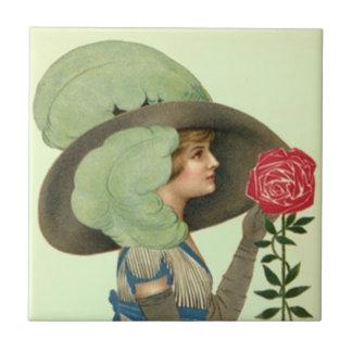 ヴィンテージのビクトリアンな帽子のばら色のダービーLgtの真新しいタイル タイル