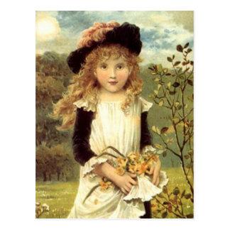 ヴィンテージのビクトリアンな芸術のラッパスイセンのコレクターの女の子 ポストカード