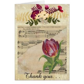 ヴィンテージのビクトリアンな音楽ロマンスのチューリップGreetingCard カード