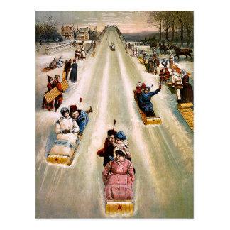 ヴィンテージのビクトリアンなSledding丘のクリスマス ポストカード