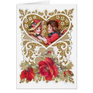 ヴィンテージのビクトリア時代の人のバレンタイン カード