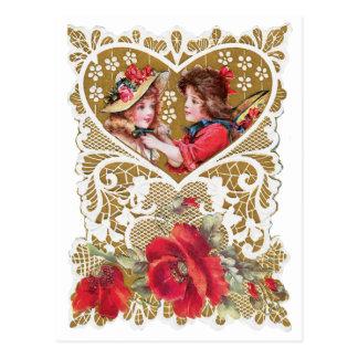 ヴィンテージのビクトリア時代の人のバレンタイン ポストカード