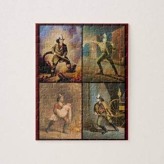 ヴィンテージのビクトリア時代の人の消防士 ジグソーパズル