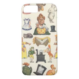 ヴィンテージのビクトリア時代の人の紙の人形のおもちゃ、アリスの不思議の国 iPhone 8/7ケース