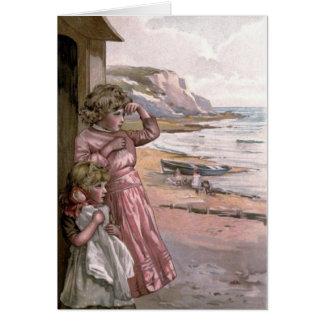 ヴィンテージのビクトリア時代の人及びかわいい: ビーチの子供 グリーティングカード