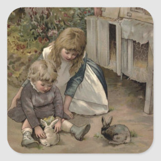 ヴィンテージのビクトリア時代の人及びかわいい: 子供及びバニーウサギ 正方形シール・ステッカー
