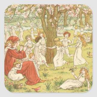 ヴィンテージのビクトリア時代の人及びかわいい: 雑色のパイパー スクエアシール
