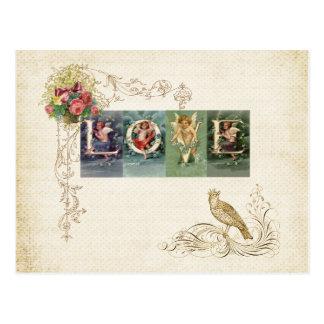 ヴィンテージのビクトリア時代の人愛 ポストカード