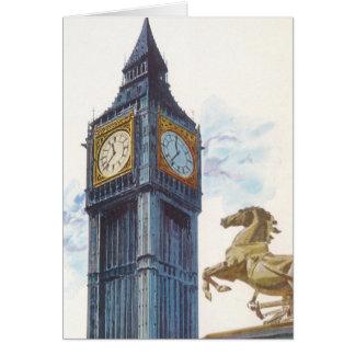 ヴィンテージのビッグベンの時計台の馬の彫像、ロンドン カード