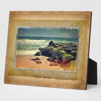 ヴィンテージのビーチの生命郵便はがきのデザイン フォトプラーク