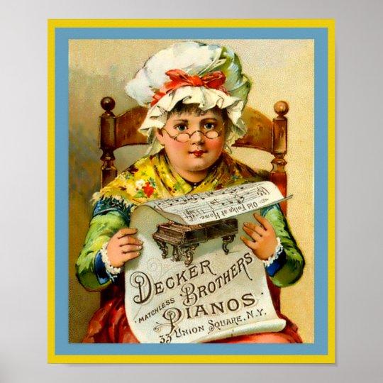 ヴィンテージのピアノ広告のデッカーの兄弟のピアノ1880年 ポスター