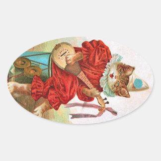 ヴィンテージのピエロのこっけい者のミュージシャン猫のマンドリン 楕円形シール