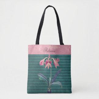 ヴィンテージのピンクおよびティール(緑がかった色)のアマリリスの花 トートバッグ