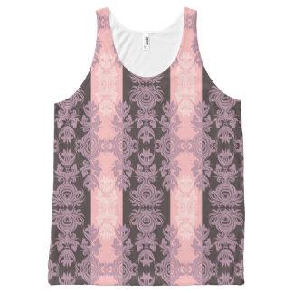 ヴィンテージのピンクおよび灰色のダマスク織 オールオーバープリントタンクトップ