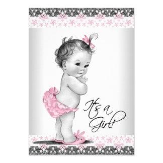 ヴィンテージのピンクおよび灰色の女の赤ちゃんのシャワー カード
