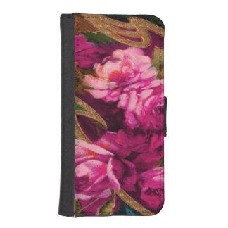 ヴィンテージのピンクにバラの金ゴールドの研ぐこと iPhoneSE/5/5sウォレットケース