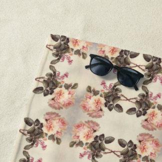 ヴィンテージのピンクのキャベツばら色の花のビーチタオル ビーチタオル