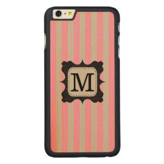 ヴィンテージのピンクのストライプパターン黒の習慣のモノグラム CarvedメープルiPhone 6 PLUS スリムケース