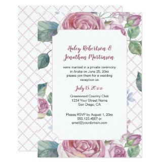 ヴィンテージのピンクのバラおよび緑の草木の格子仕事| カード