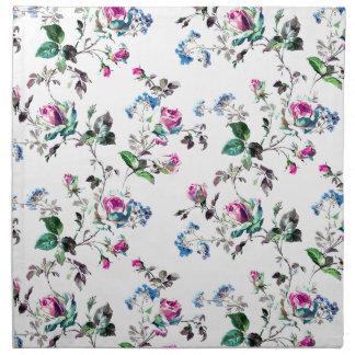 ヴィンテージのピンクのバラおよび青の花の花柄 ナプキンクロス