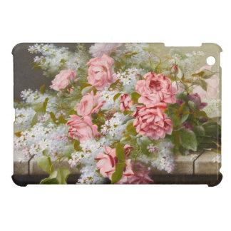 ヴィンテージのピンクのバラそして白いライラック iPad MINIケース