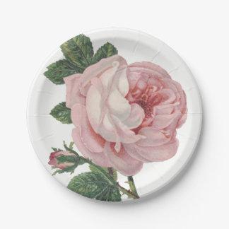 ヴィンテージのピンクのバラによってはぼろぼろのシックな結婚式が開花します ペーパープレート