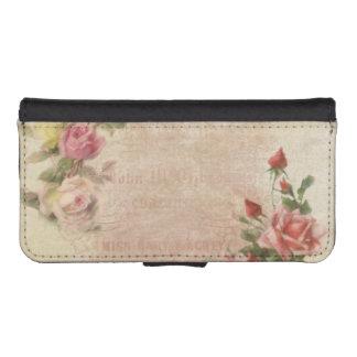 ヴィンテージのピンクのバラのコラージュ iPhoneSE/5/5sウォレットケース
