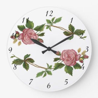 ヴィンテージのピンクのバラのスプレー ラージ壁時計