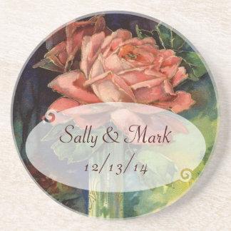 ヴィンテージのピンクのバラの結婚式のコースター コースター