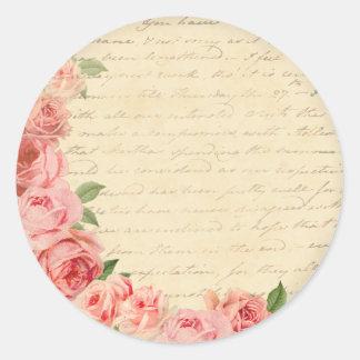 ヴィンテージのピンクのバラの美しく、ガーリーなステッカー ラウンドシール