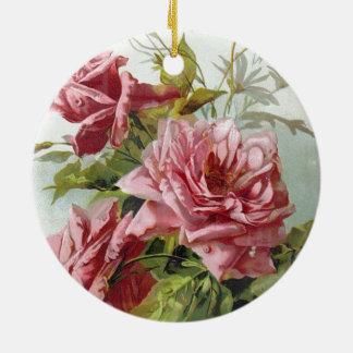 ヴィンテージのピンクのバラの花束 セラミックオーナメント