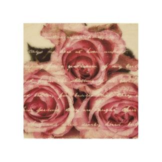 ヴィンテージのピンクのバラ ウッドウォールアート