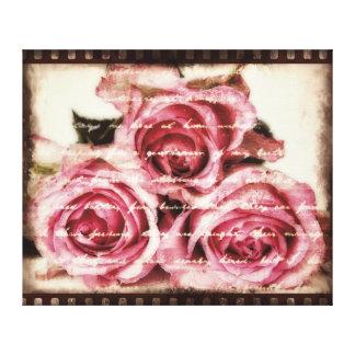 ヴィンテージのピンクのバラ キャンバスプリント