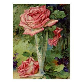 ヴィンテージのピンクのバラ ポストカード