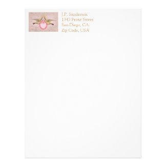 ヴィンテージのピンクのバレンタイン愛鳩およびハート レターヘッド