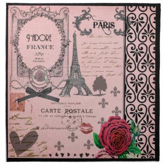 ヴィンテージのピンクのパリのコラージュのナプキン ナプキンクロス