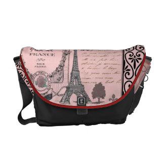 ヴィンテージのピンクのパリのコラージュのバッグ メッセンジャーバッグ