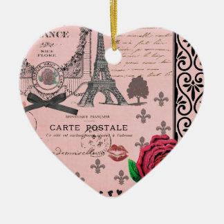 ヴィンテージのピンクのパリのコラージュのロマンチックなハートのオーナメント セラミックオーナメント