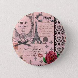 ヴィンテージのピンクのパリのコラージュ 缶バッジ